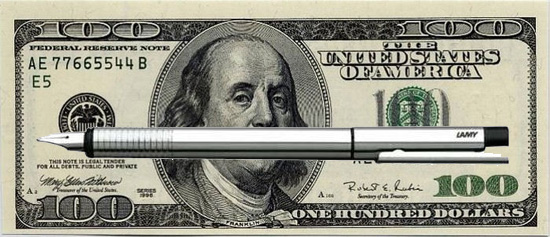 100 Dollar Bill with Pen